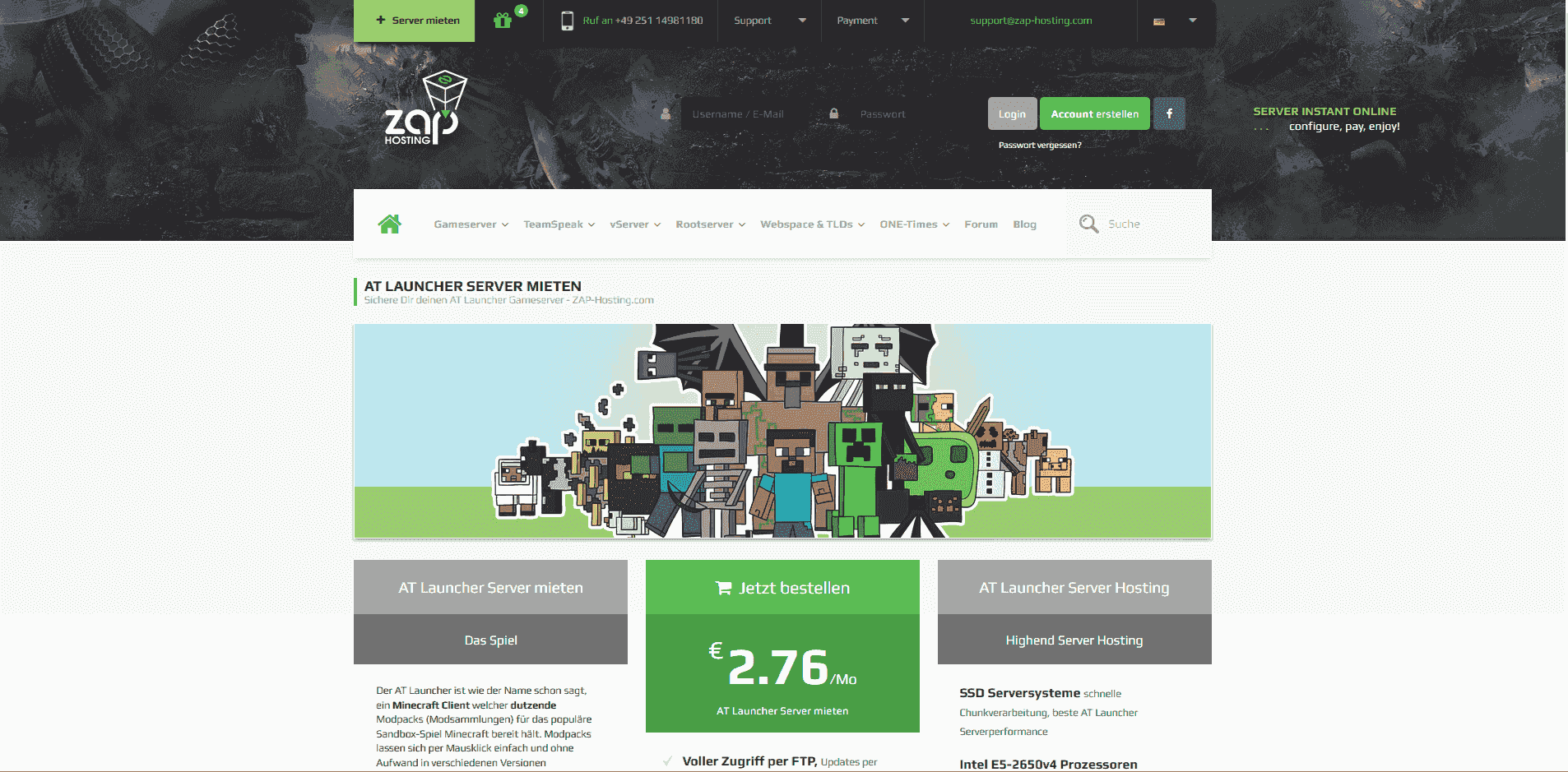 Minecraft AT Launcher Serverhosting - ZAP-Hosting com